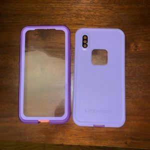 iphone X purple & peach life proof case
